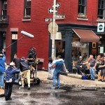 cast and crew filming in the West Village, NYC